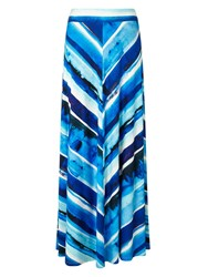 Phase Eight Painterly Stripe Maxi Skirt Blue