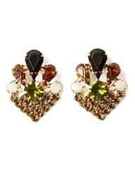 Pixie Market Art Deco Gem Clip Earrings
