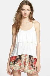 Band Of Gypsies Double Layer Crochet Inset Tank White