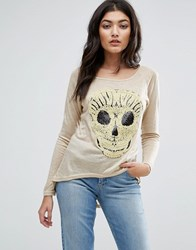 Jasmine Embroidered Skull T Shirt Cream
