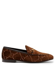 Gucci Jordaan Logo Jacquard Velvet Loafers Brown