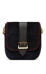 Burberry Satchel Bag In Navy Calf Suede