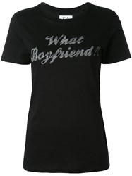Zoe Karssen What Boyfriend T Shirt Women Cotton Modal S Black