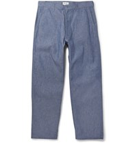 Chimala Wide Leg Cotton Chambray Trousers Blue