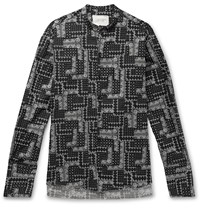 Greg Lauren Grandad Collar Paisley Print Cotton Shirt Black