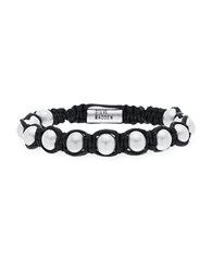 Steve Madden Silver Tone Stainless Steel Oxidized Ball Charms Adjustable Black Leather Bracelet