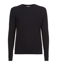 Gieves And Hawkes Chunky Cable Knit Sweater Navy