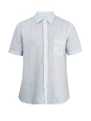 120 Lino Short Sleeved Linen Shirt Light Blue