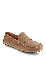 Saks Fifth Avenue Slip On Leather Drivers Taupe