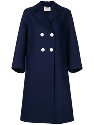 Dorothee Schumacher Double Breasted Midi Coat Blue