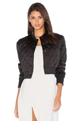 Kendall Kylie Quilted Satin Bomber Black