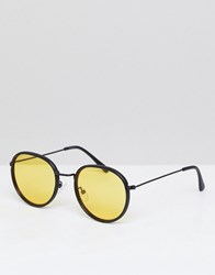 Asos Round Sunglasses In Matte Black With Yellow Lens Black