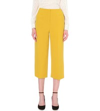 Karen Millen Wide Leg Cropped Crepe Trousers Yellow
