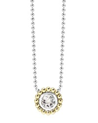 Lagos Sterling Silver And 18K Gold Pendant Necklace With White Topaz 16