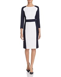 Basler Color Block Sheath Dress Navy
