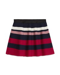 Gucci Striped Silk Blend Pleated Skirt Blue Red White Size 6 12 Size 12 Navy
