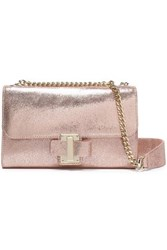 Halston Metallic Leather Shoulder Bag Rose Gold