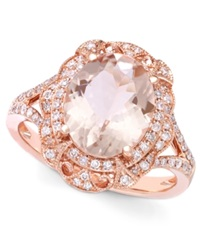 Effy Collection Blush By Effy Morganite 3 1 8 Ct. T.W. And Diamond 1 4 Ct. T.W. Oval Ring In 14K Rose Gold Pink