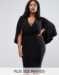 Club L Plus Wrap Front Cape Midi Dress Black