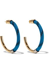 Marni Gold Tone Cord Earrings Blue
