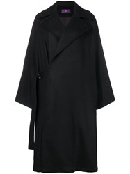 Y's Oversized Double Breasted Coat Black