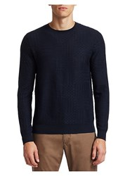 Saks Fifth Avenue Collection Textured Wool Blend Sweater Navy