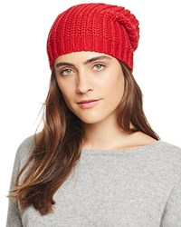 Aqua Chunky Knit Slouchy Hat Red