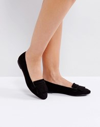London Rebel Fringe Flat Slipper With Buckle Black Micro