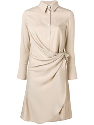 Jovonna Draped Shirt Dress Neutrals