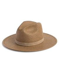 Janessa Leone Adriana Packable Straw Panama Hat Brown