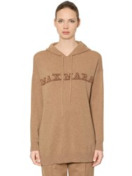 Max Mara Oversize Hooded Cashmere Knit Sweater Camel