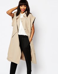 Monki Oversized Trenchcoat Beige