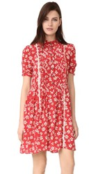 The Kooples Ruffle Floral Dress Red