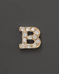 Zoe Chicco 14K Yellow Gold Pave Single Initial Stud Earring .04.06 Ct. T.W. B