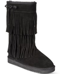 American Rag Senecah Cold Weather Fringe Boots Only At Macy's Women's Shoes Black
