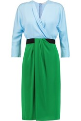 Vionnet Color Block Stretch Silk Dress Green