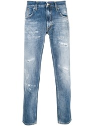 Department 5 Distressed Cropped Jeans Blue