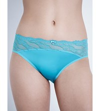 Wacoal Eclat Embroidered Stretch Tulle And Satin Bikini Briefs Aquamarine