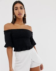 Fashion Union Ruched Crop Top With Balloon Sleeves In Crinkle Black