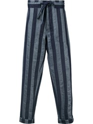 Andrea Pompilio Striped Baggy Trousers Men Cotton Linen Flax 48 Blue