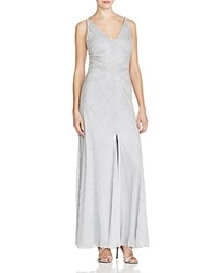 Aidan Mattox Embellished V Neck Gown Light Blue