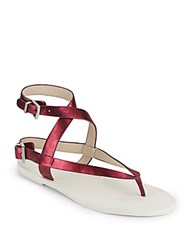 Kenneth Cole Ariel Metallic Faux Leather Strappy Thong Flats Berry
