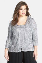 Alex Evenings Print Mesh Twinset Plus Size Metallic