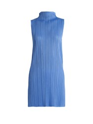 Issey Miyake Pleated High Neck Top Blue