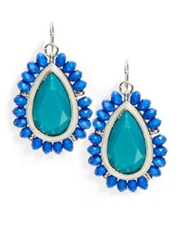 Catherine Stein Blue Beaded Teardrop Earrings Teal
