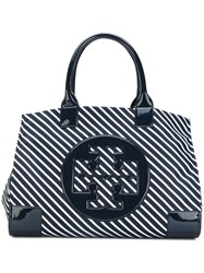 Tory Burch Striped Tote Bag Women Nylon One Size Blue