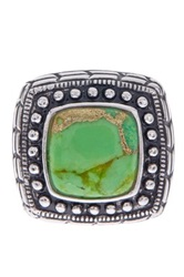 Savvy Cie Rhodium Plated Sterling Silver Reconstructed Green Turquoise Cushion Ring