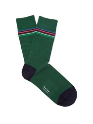 Paul Smith Striped Rib Knit Cotton Blend Socks Green