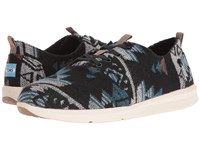 Toms Del Rey Black Teal Tribal Wool Men's Lace Up Casual Shoes Multi