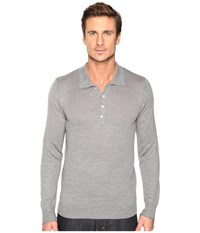 7 For All Mankind Long Sleeve Polo Sweater Heather Grey Men's Sweater Gray